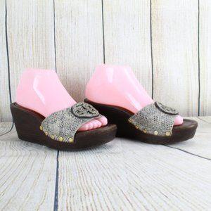 TORY BURCH Platform Slide Wedge Sandals Size 8 M